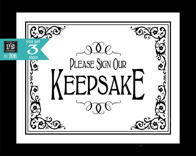 PRINTABLE Keepsake Wedding or anniversary sign - Please sign our keepsake - Traditional Black and white Black Tie design