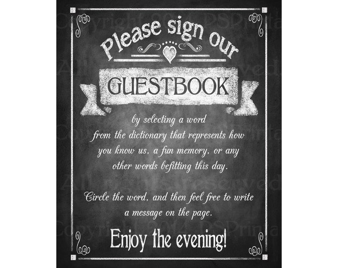 Please sign our DICTIONARY Guestbook Printable Wedding Chalkboard sign - download digital file - DIY - Rustic Collection - Wedding Signage