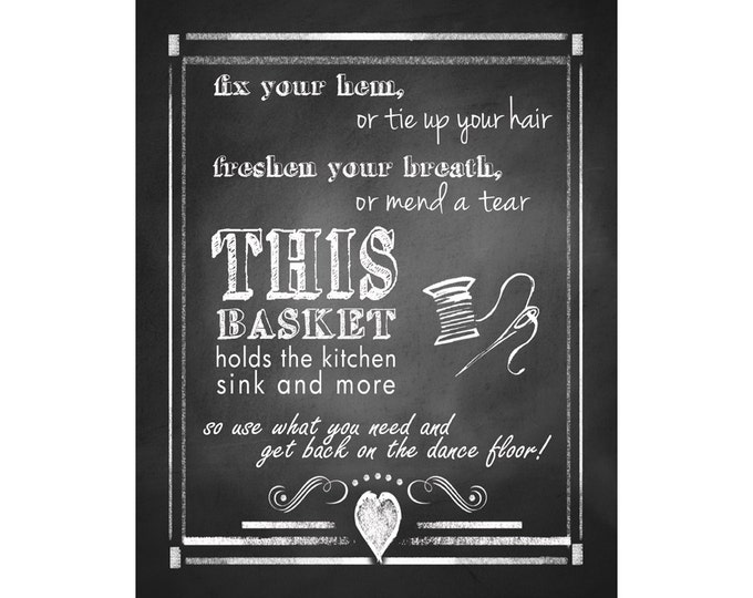 Rustic Wedding sign for Female or Women's Bathroom - chalkboard style - Rustic collection-5x7and 8x10