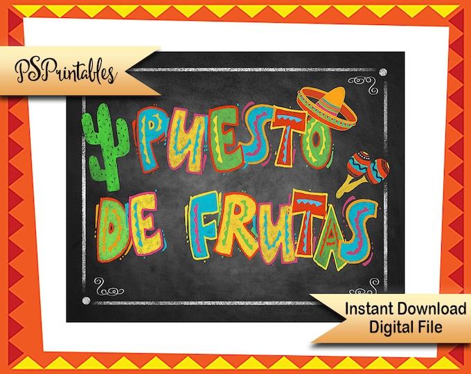 Fiesta Printable Sign, Puesto de Frutas sign, graduation fiesta, birthday fiesta, fruit bar sign, mexican wedding sign, wedding fiesta sign