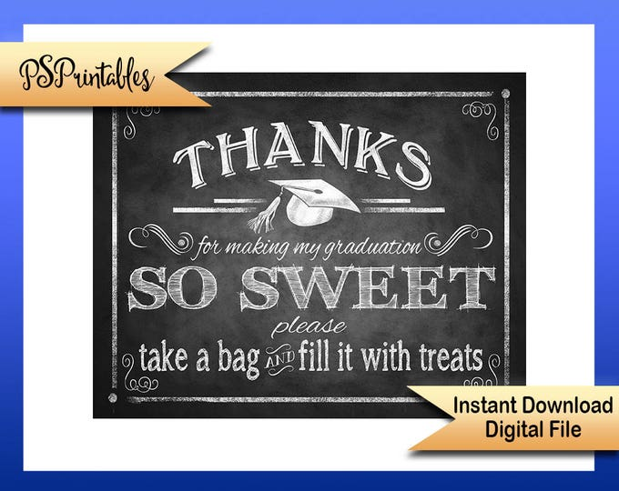 Printable Graduation Thank you Sign, grad party sign, DIY graduation sign, graduation printable, chalkboard grad sign, printable grad sign