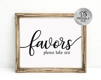 PRINTABLE Favors Sign | Wedding sign, Traditional Wedding signage, Shower Sign, Black White Wedding Sign, Modern Wedding Signs, Party Decor