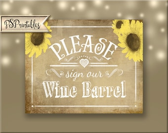 Sign our Wine Barrel, Printable Wedding sign, Vineyard Wedding, Wine Wedding Signage, Wine Barrel Sign  - Vintage Sunflower Collection