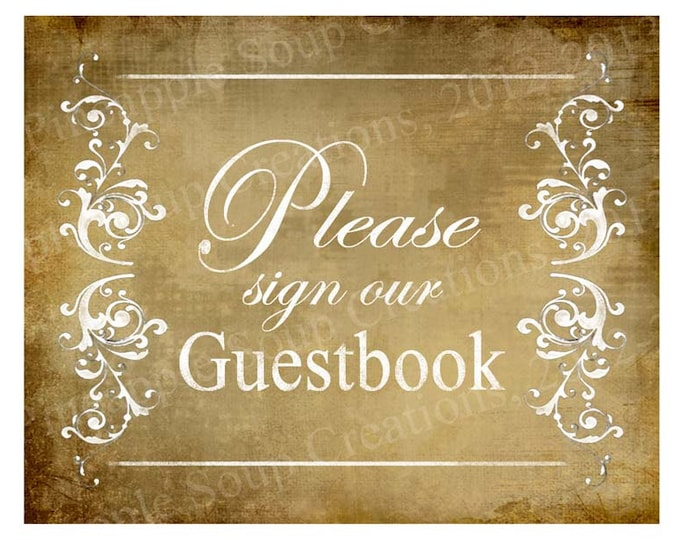 PLEASE sign our GUESTBOOK Wedding sign - instant download of digital file - Vintage Victoria Collection
