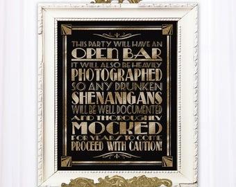 Open Bar sign, Wedding Bar Sign | PRINTABLE Wedding Sign, Roaring 20's wedding signage, Black Gold  Wedding, 1920s Wedding Decorations