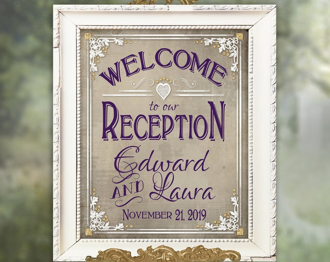 Welcome to our Reception, Personalized Wedding sign, Boho Wedding reception sign, Printable Wedding signs, purple wedding signage, old lace