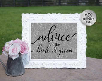 Wedding Advice Sign | PRINTABLE Wedding sign, Galvanized Wedding signage, Country Wedding Decor, Barn Wedding Decorations, Rustic wedding