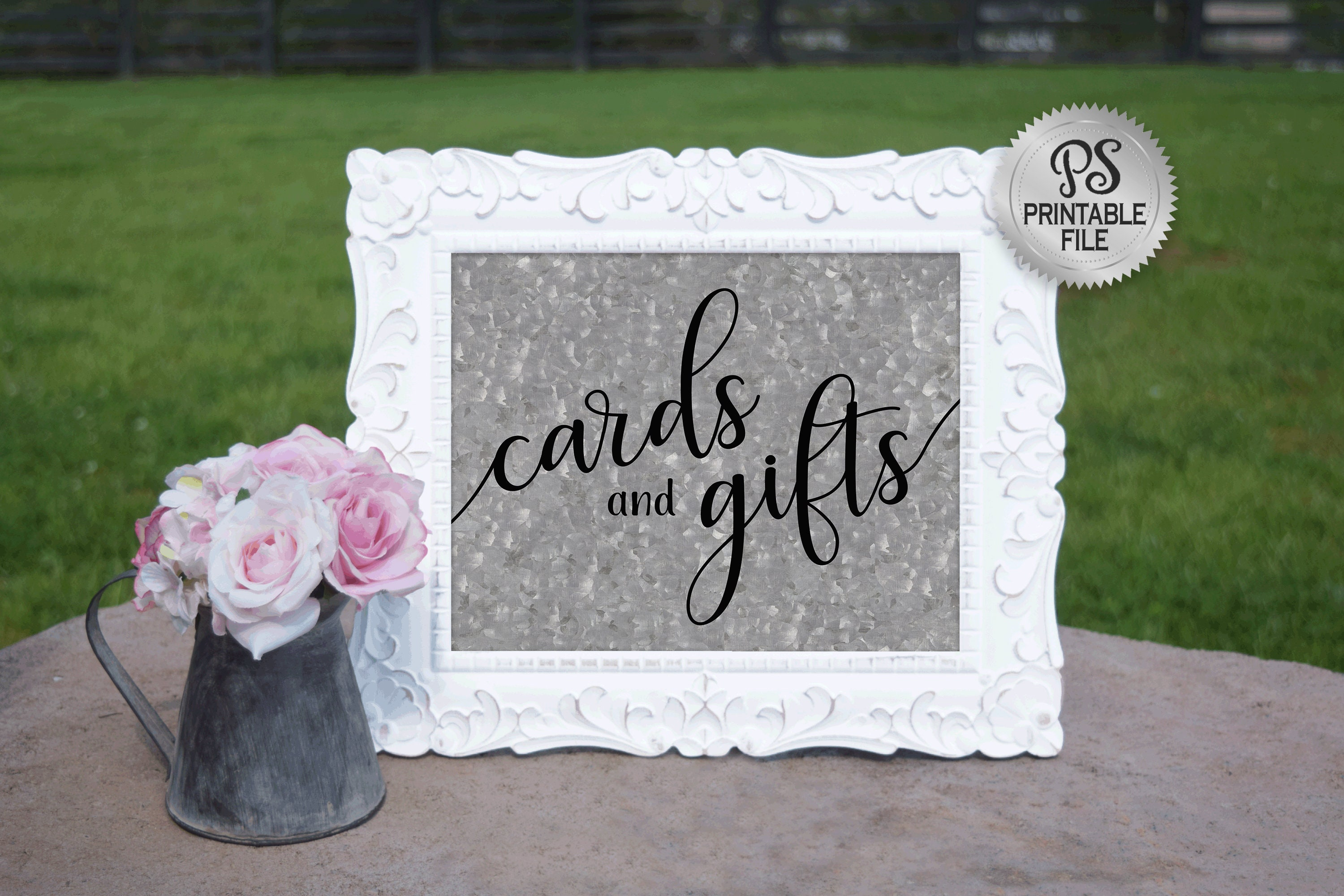 picture regarding Cards and Gifts Sign Printable titled Playing cards and Items Marriage Signal PRINTABLE State Wedding ceremony
