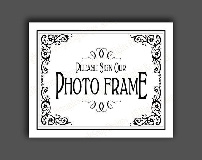 Please sign our Photo Frame PRINTABLE Wedding sign - Please sign our guestbook - Traditional Black Tie design - Black White Wedding