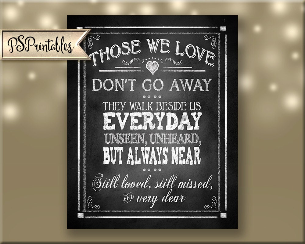 Those We Love Dont Go Away They Walk Beside Us Memorial Quote