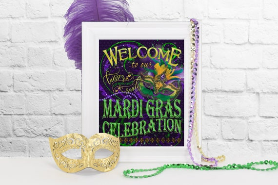 Mardi Gras Welcome Sign DIY Mardi Gras Party Decoration New Etsy Fascinating Masquerade Ball Decorations Diy