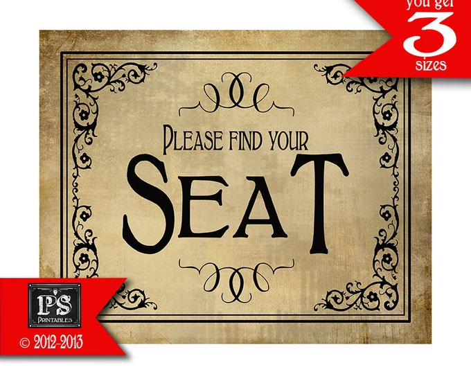 Please find your seat Printable Wedding or Special Event sign - instant download digital file - Vintage Black Tie Collection