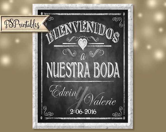 Personalized Bienvenidos a Nuestra Boda Printable File with Bride & Groom Names and wedding date - DIY - Vintage Collection