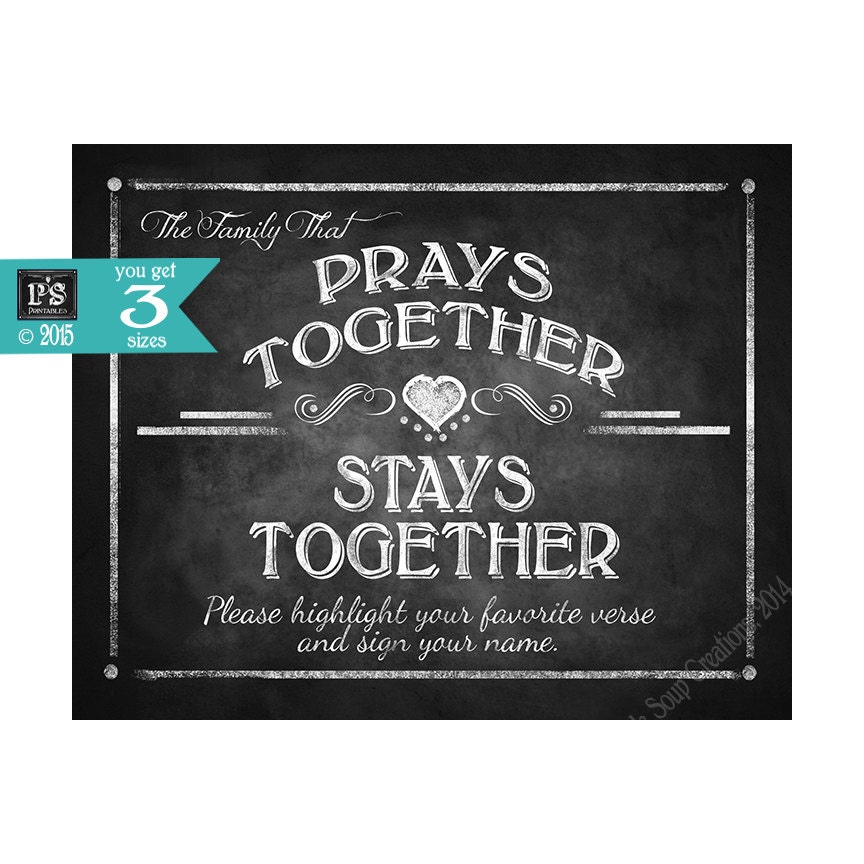 BIBLE VERSE sign - The Family That Prays Together-Stays