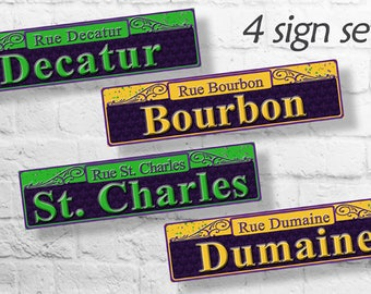Mardi Gras Party Decorations, New Orleans Street Sign, Mardi Gras Party Decor, Mardi Gras Digital, Party Decorations, Masquerade Party Decor