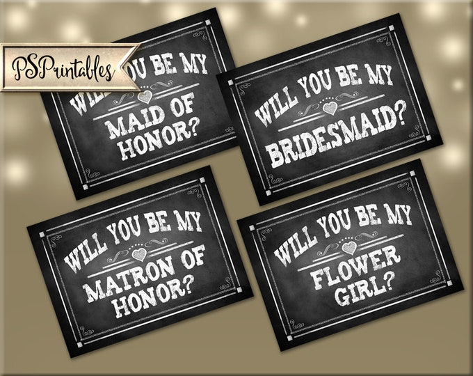 Will you be my Bridesmaid Cards   PRINTABLE Wedding Party cards, Set of 4 Bridesmaid Proposal Cards, Maid of Honor Card, Flower Girl Card