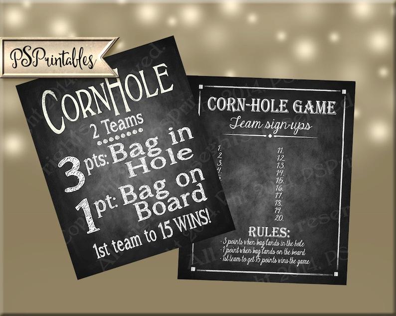 photo regarding Printable Cornhole Rules named Corn Gap Indication and Staff members Signup Sheet PRINTABLE report - Basically down load and print - Cornhole Chalk indication