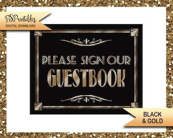 1920s Theme Wedding Guestbook Sign | PRINTABLE Wedding sign, black gold wedding, wedding decor, Sign our Guest book sign, DIY wedding