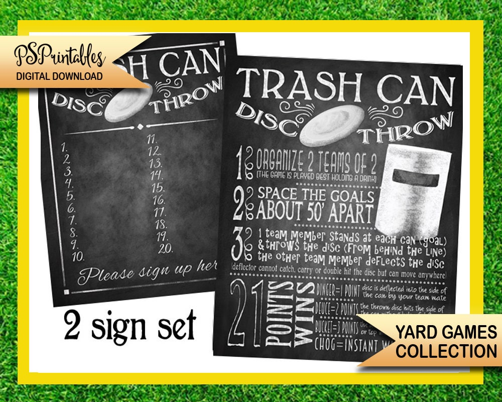 photograph relating to Trash Sign Printable named garden game titles - trash can disc toss backyard garden match signal - bbq backyard garden