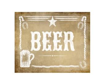 Beer Bar Sign Western Theme - Vintage Style Sign - PRINTABLE file -  DIY poster