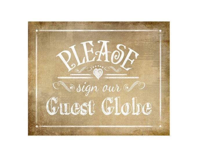 Printable Wedding Vintage sign - PLEASE sign our Guest Globe - instant download file - DIY - Vintage Heart Collection - Wedding Signage