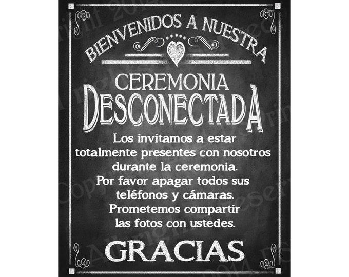 Spanish Welcome to our Unplugged Ceremony PRINTABLE Wedding Sign - Bienvenidos A Nuestra Ceremonia Desconectada - DIY printable sign