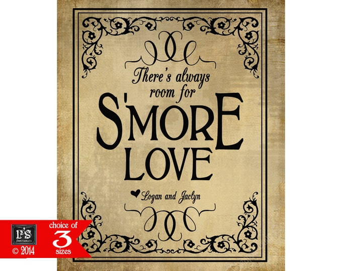 Smore Wedding Sign - There's always room for S'more Love - Black Tie design - PERSONALIZED with bride and groom names - Vintage Black tie