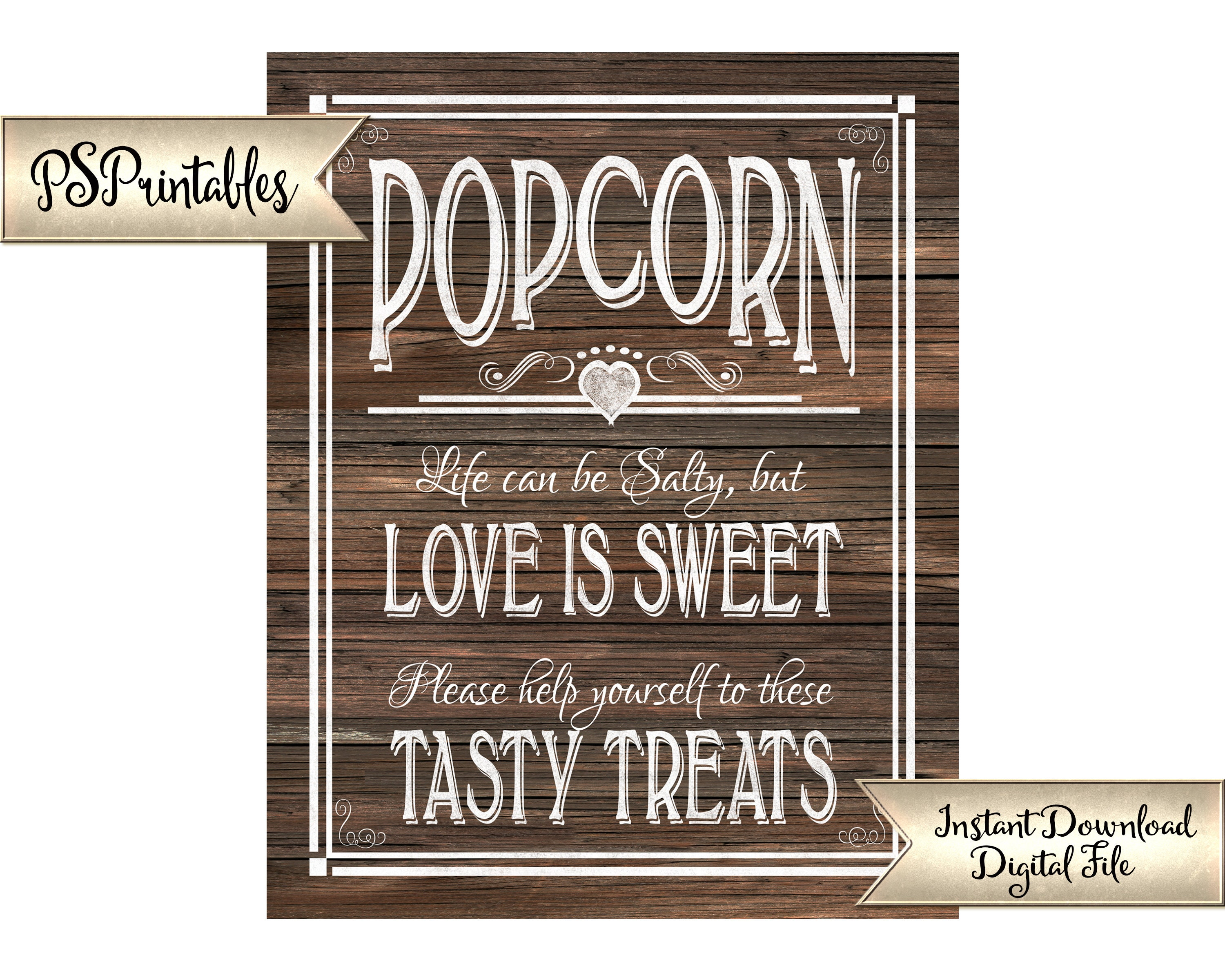 photo about Popcorn Sign Printable referred to as Phony Picket Wedding day Indication PRINTABLE Popcorn Indicator