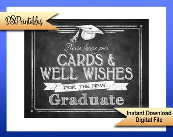 Printable Graduation, cards & well wishes Sign, graduation wishes, 2017 graduate party sign, grad party sign, DIY graduation sign, DIY grad