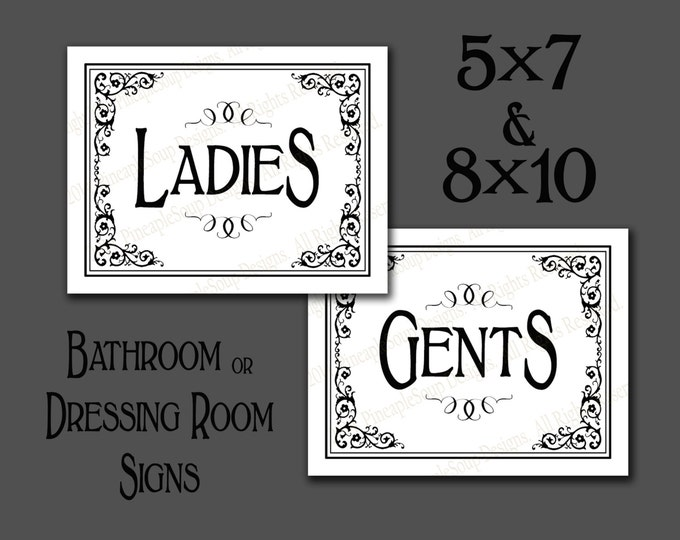 Printable Ladies & Gents Bathroom or Dressing Room signs - DIY instant download and print yourself in black and white - Black Tie Collection