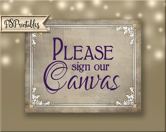 Sign our Canvas Guestbook Printable Wedding Sign- wedding canvas, guestbook alternative, purple plum white wedding,- Old Lace Collection