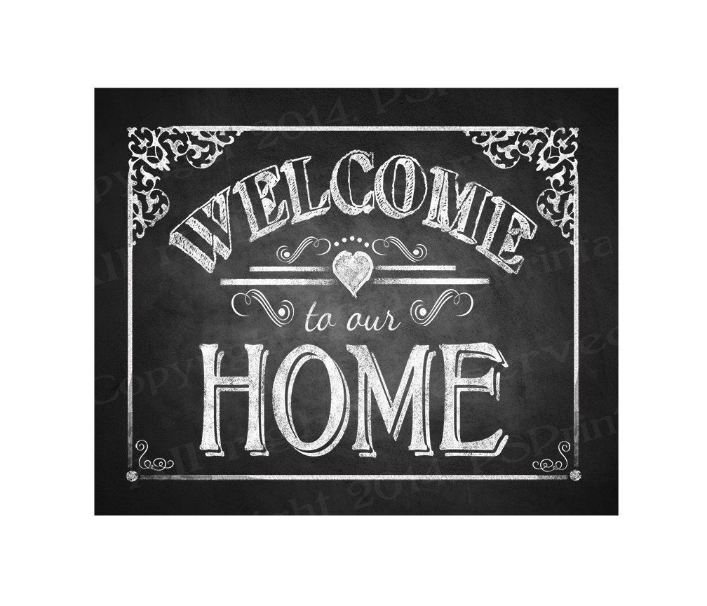 photo regarding Printable Welcome Home Sign called Printable Welcome towards our Residence chalkboard indicator - Do-it-yourself immediate