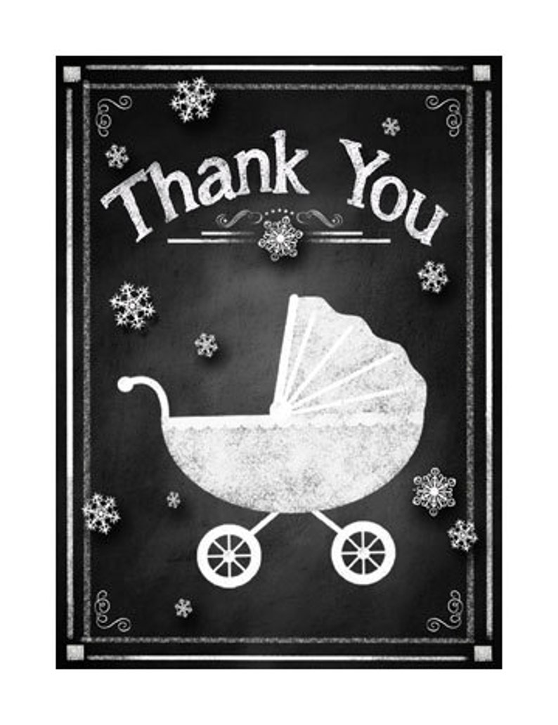 Rustic Chalkboard Collection Printable DIY Baby Shower Winter Snowflakes Thank You Cards