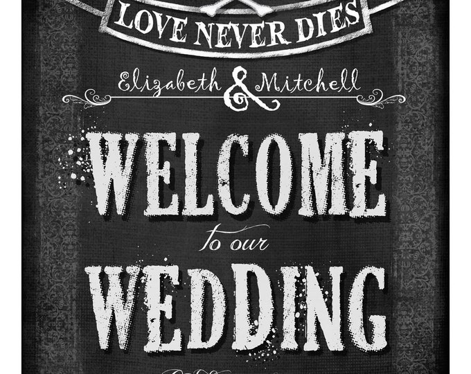 Personalized WELCOME to our Wedding diy printable - Love Never Dies Halloween Wedding Collection - gothic wedding - hallloween wedding