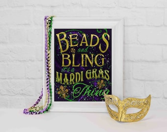 Mardi Gras Party Decorations, Mardi Gras Party Decor, Mardi Gras Sign, Party Decorations, Masquerade Party, Mardi Gras, Beads & bling sign