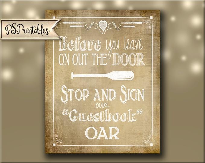 Please sign our Oar Printable Wedding Vintage sign - download digital file - DIY - Vintage Heart Collection - Wedding Signage