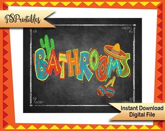 Printable Cinco de Mayo Sign, Fiesta Bathroom sign, Birthday sign, wedding sign, graduation party decot, PRINTABLE Diy poster, quinceanera