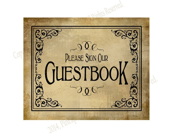 PRINTABLE Guestbook Wedding sign - Please sign our guestbook - Vintage Black Tie design