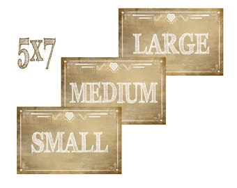 Printable Small Medium and Large Signs, Vintage style - Rustic Collection - Flip Flop, socks, gloves or slipper favor  Basket Size Sign