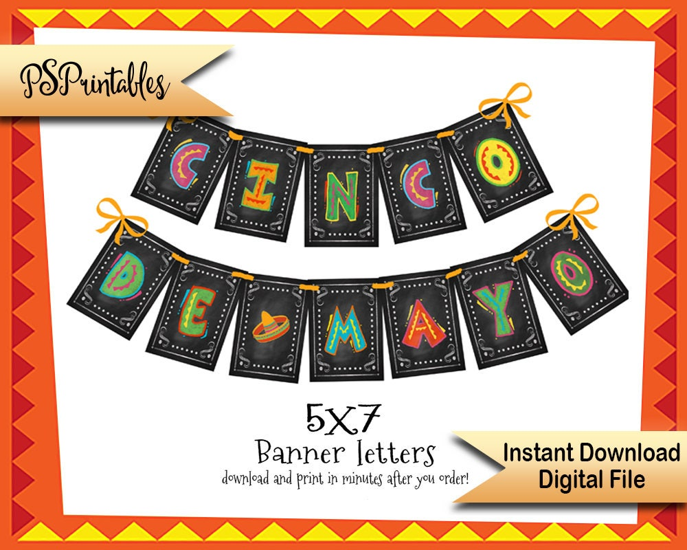 picture relating to Cinco De Mayo Printable Decorations titled Do-it-yourself Cinco De Mayo Banner, Printable fiesta decor, mexican