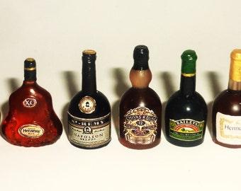 Dollhouse miniature 1:12 alcohol, whiskey, brandy, cognac, liqueur