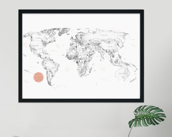"""World Map Art Print - Poster - Geographic Map - Watercolor - Minimalist - White - Travel World Map - World Poster - Planet Earth - 24"""" x 36"""""""