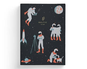 """Notebook with Retrospace Astronauts design – Lay-Flat binding – 5,75"""" x 8"""" – Ruled Pages"""