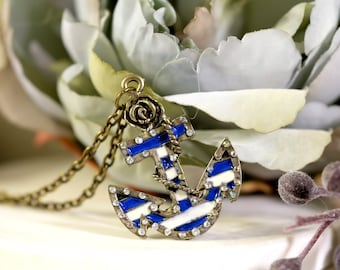 Anchor Earrings and Necklace Jewelry Set