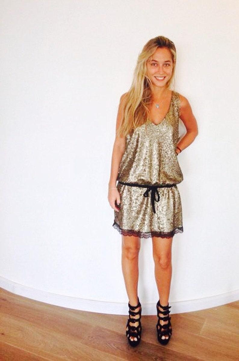 b433eb9074e Gold Boho Sequin Dress Women Tunic Evning Party glamorous   Etsy