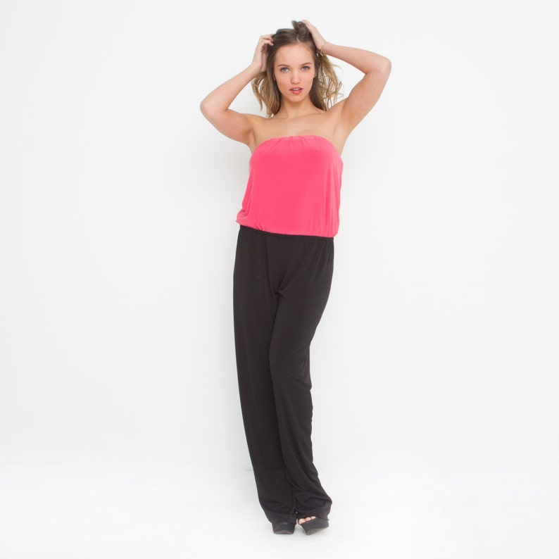 cadd0dc9f4c Evening Wear Overall .Black And Coral Jumpsuit Strapless.