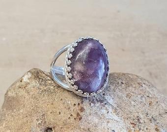 Bohemian Lilac Girasol Girasol Ring Raw Rough Purple Girasol Reiki Infused 14k Gold Option Witch Ring 925 silver Celestial Jewelry