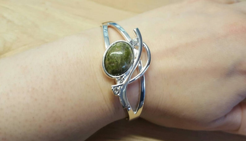 Green Scorpio jewelry Silver plated Adjustable bracelet Unakite cuff bracelet Reiki jewelry uk