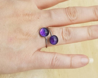 Hypoallergenic two stone Amethyst adjustable ring. Stainless steel rings for women. February birthstone. 8mm Multistone Bypass ring