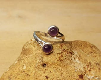 Two stone Amethyst adjustable ring. 925 sterling silver rings for women. Reiki jewelry uk. February birthstone. 5mm Multistone Bypass ring